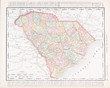 Antique Vintage Color Map South Carolina, SC, United States USA