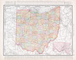 Antique Vintage Color Map of Ohio, OH, United States USA