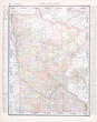Antique Vintage Color Map of Minnesota, MN, United States, USA