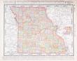 Antique Vintage Color Map of Missouri, MO, United States, USA