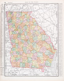 Antique Vintage Color Map of Georgia, GA, United States, USA