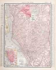 Detailed Antique Color City Street Map Buffalo, New York, USA