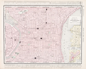 Vintage Color City Street Map Philadelphia, Pennsylvania, USA