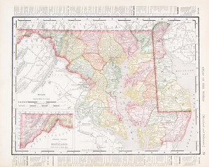 Antique Vintage Color Map of Maryland and Delaware, USA