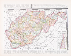 Antique Vintage Color Map of West Virginia, WV United Sates USA