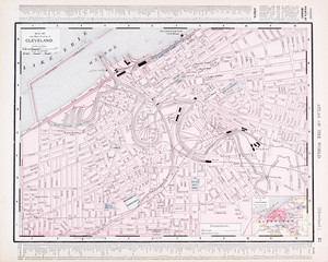 Detailed Vintage Color Street City Map Cleveland, Ohio, OH, USA