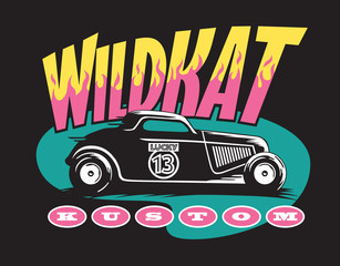 Wildkat Kustom Hot Rod Logo