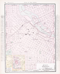 Detailed Antique Color Street  City Map  Minneapolis, Minnesota