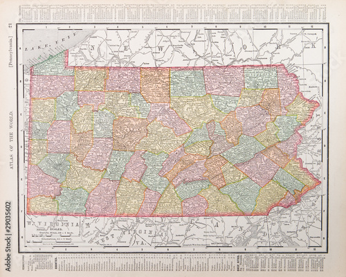 Antique Vintage Color Map of Pennsylvania, PA United State USA