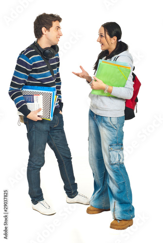 Students couple having conversation