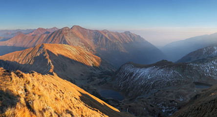 Mountain panorama from peak Volovec in West Tatras