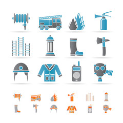 fire-brigade and fireman equipment icon - vector icon set