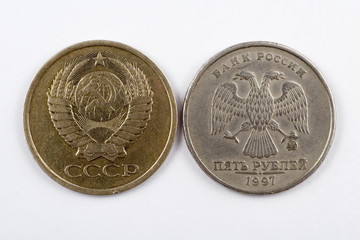 two coins, 5 cents and 5 rubles