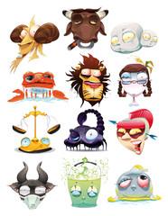 Funny Zodiac. Cartoon and vector illustration