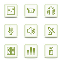 Media web icons, white glossy buttons