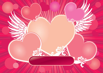 Hearts background with place for caption