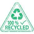 "Rubber stamp illustration showing ""100 PERCENT RECYCLED"" text"