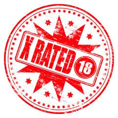 "Rubber stamp illustration showing ""X RATED"" text and 18 symbol"