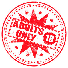 "Rubber stamp illustration showing ""ADULTS ONLY"" text and symbol"