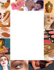 Collage - Kosmetik mit Textfreiraum für Angebot