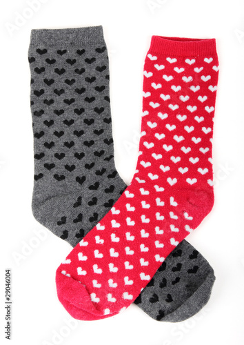 two diffrent socks with small hearts - 29046004