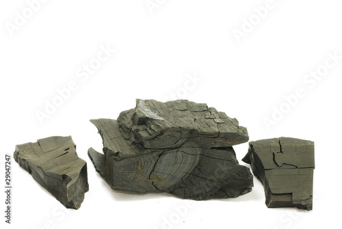 Black coal isolated on the white background
