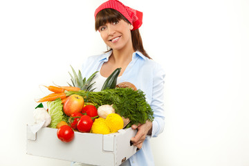 attractive young woman holding vegetable bag 2