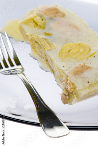 aspic with chicken meat and artichokes