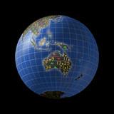 Australian economies with stock market tickers on globe poster