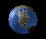 North American economies with stock market tickers on globe poster