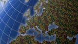 European economies with stock market tickers on globe poster