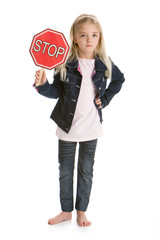 Cute little girl holding a stop sign