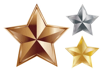 Three stars from brushed metal