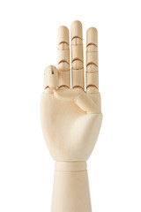 wooden dummy hand with three fingers up
