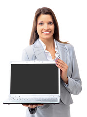 pretty business woman looking at laptop