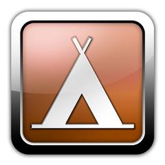 """Bronze Glossy Square Icon """"Camping Symbol"""""""