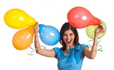 Fototapety Frau feiert mit Luftballons