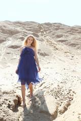 Girl in dark blue dress