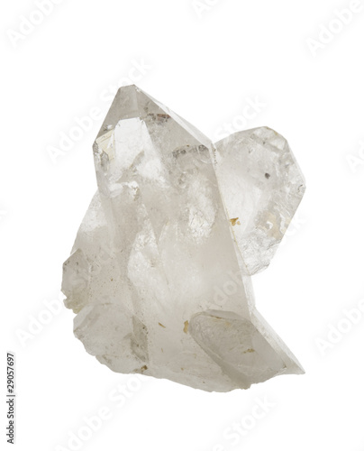 Rock crystal quartz isolated on white. - 29057697