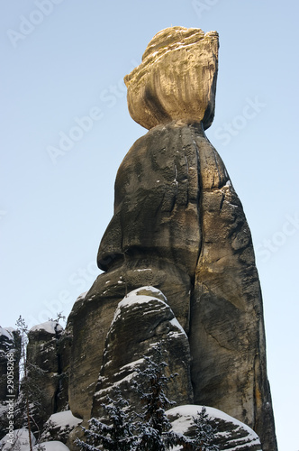 Stone woman silhouette in rock town, Czech Republic