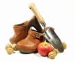 sabot, bèche, pomme, et noix