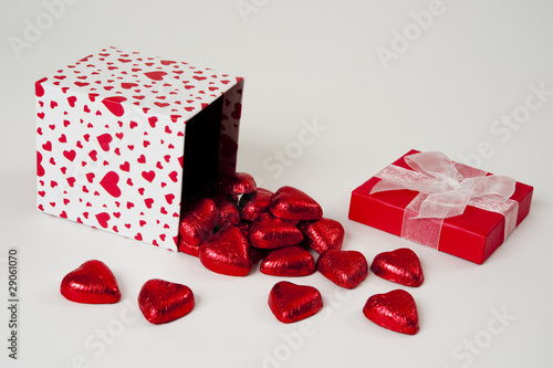Chocolate Hearts Spilling out of a Heart Gift Box