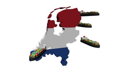 Netherlands map flag with container ships animation