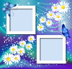 Page layout postcard with flowers, butterfly for inserting text