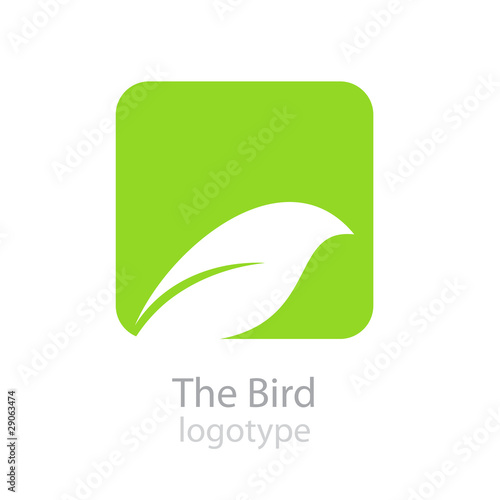 Logo bird on green button # Vector