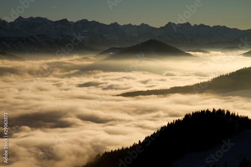 Fototapeten,berg,wolken,sonne,nebel