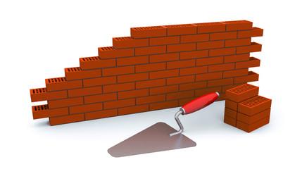 laying bricks, bucket and trowel