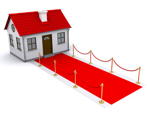 small house with red roof and red carpet