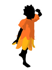 African American Fairy Girl Silhouette Illustration