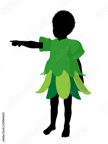 African American Boy Fairy Silhouette Illustration